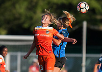 Kansas City, MO - Sunday July 02, 2017:  Cami Privett heads the ball during a regular season National Women's Soccer League (NWSL) match between FC Kansas City and the Houston Dash at Children's Mercy Victory Field.