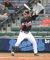 29 March 2008: Gregor Blanco of the Atlanta Braves in an exhibition game against the Cleveland Indians at Turner Field in Atlanta, Ga.   Photo by: Tom Priddy/Four Seam Images