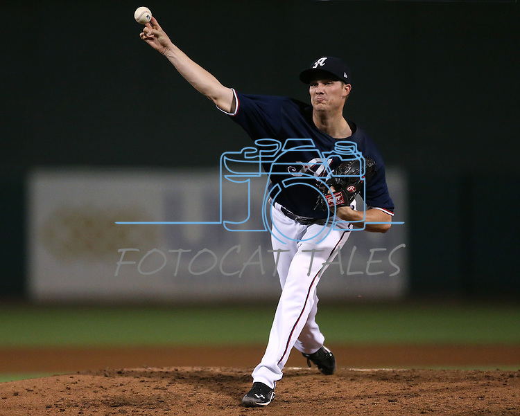 Charles Brewer pitches for the Reno Aces against the Omaha Storm Chasers in the Aces' 5-2 victory on Wednesday, Aug. 27, 2014, in Reno, Nev.<br /> Photo by Cathleen Allison