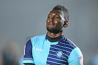 Scorer of the opening goal, Aaron Pierre of Wycombe Wanderers, during the Sky Bet League 2 match between Wycombe Wanderers and Morecambe at Adams Park, High Wycombe, England on 12 November 2016. Photo by David Horn.
