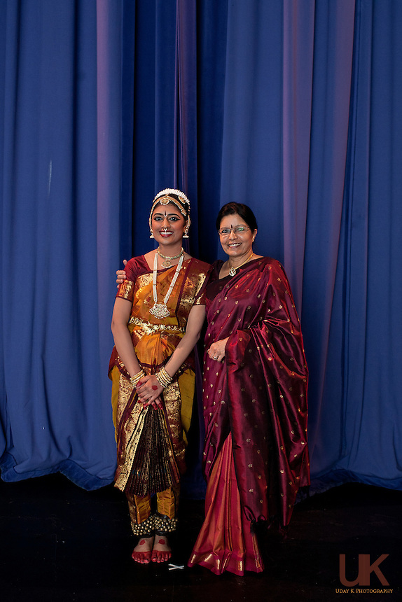 Suchitra with her Guru Revathi Satyu before her Arangetram at the Eisemann Center.