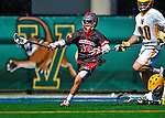 17 March 2012: Sacred Heart University Pioneer Attackman Cody Marquis, a Sophomore from Londonderry, NH, in action against the University of Vermont Catamounts at Virtue Field in Burlington, Vermont. The visiting Pioneers rallied to tie the score at 11 with five unanswered goals, dominating the 4th period. However the Cats scored with only 10 seconds remaining in the game to defeat the Pioneers 12-11 in their non-conference matchup. Mandatory Credit: Ed Wolfstein Photo