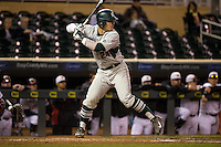 Chad Roskelly (24) of the Michigan State Spartans bats during a 2015 Big Ten Conference Tournament game between the Maryland Terrapins and Michigan State Spartans at Target Field on May 20, 2015 in Minneapolis, Minnesota. (Brace Hemmelgarn/Four Seam Images)