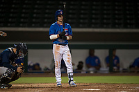 AZL Cubs shortstop Levi Jordan (4) at bat during an Arizona League game against the AZL Brewers at Sloan Park on June 29, 2018 in Mesa, Arizona. The AZL Cubs 1 defeated the AZL Brewers 7-1. (Zachary Lucy/Four Seam Images)