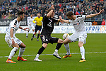 GER - Sandhausen, Germany, March 19: During the 2. Bundesliga soccer match between SV Sandhausen (white) and FC ST. Pauli (black) on March 19, 2016 at Hardtwaldstadion in Sandhausen, Germany. (Photo by Dirk Markgraf / www.265-images.com) *** Local caption *** (L-R) Leart Paqarada #19 of SV Sandhausen, Lennart Thy #18 of FC St. Pauli, Damian Rossbach #4 of SV Sandhausen
