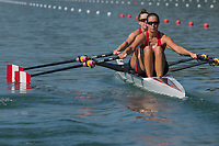 Lucerne, SWITZERLAND, 13th July 2018, Friday CAN W2X. Bow, Gabrielle SMITH , and, Andre PROSKE,  Start, women's double sculls,  FISA World Cup series, No.3, Lake Rotsee, Lucerne, © Peter SPURRIER,