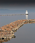 Roger Crowley / CrowleyPhotos.com..A small ligthouse outlines the breakwater on Lake Champlain in Burlington Vermont..