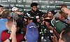 Sheldon Richardson #91 of the New York Jets speaks with the media after a day of team training camp at Atlantic Health Jets Training Center in Florham Park, NJ on Tuesday, Aug. 2, 2016.