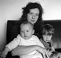 Hilary Herron, wife,  of missing UDA leader Tommy Herron pictured with their two youngest children. 14th September 1972.  Herron's body was found a few days later. 197309140395<br /> <br /> Copyright Image from Victor Patterson, Belfast, UK<br /> <br /> t: +44 28 9066 1296 (from Rep of Ireland 048 9066 1296)<br /> m: +44 7802 353836<br /> <br /> victorpattersonbelfast@gmail.com<br /> www.victorpatterson.com<br /> <br /> Please see my Terms and Conditions of Use at https://www.victorpatterson.com/page2<br /> It is IMPORTANT that you familiarise yourself with them.<br /> <br /> Images used online incur an additional cost and must be visibly watermarked i.e. © Victor Patterson within the body of the image and copyright metadata must not be deleted. Images used on the Internet have a size restriction of 4kbs and are chargeable at rates available at victorpatterson.com.<br /> <br /> This image is only available for the use of the download recipient i.e. television station, newspaper, magazine, book publisher, etc, and must not be passed on to any third party. It is also downloaded on condition that each and every subsequent usage is notified within 7 days to victorpattersonbelfast@gmail.com<br /> <br /> The right of Victor Patterson to be identified as the author is asserted in accordance with The Copyright Designs And Patents Act (1988). All moral rights are asserted.