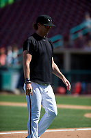 Lake Elsinore Storm pitching coach Pete Zamora (44) during a California League game against the Inland Empire 66ers on April 14, 2019 at The Diamond in Lake Elsinore, California. Lake Elsinore defeated Inland Empire 5-3. (Zachary Lucy/Four Seam Images)