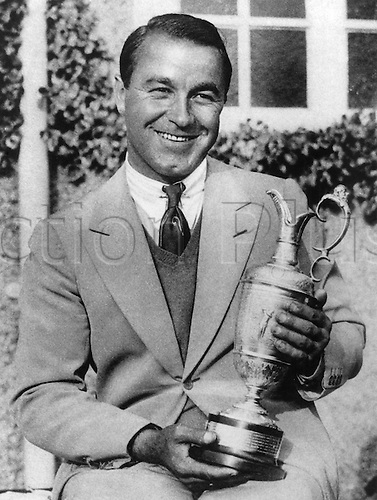 1932. Sandwich, Kent, England. Gene Sarazen.  American golfer and winner of the British Open at Prince's Golf Club, Sandwich.