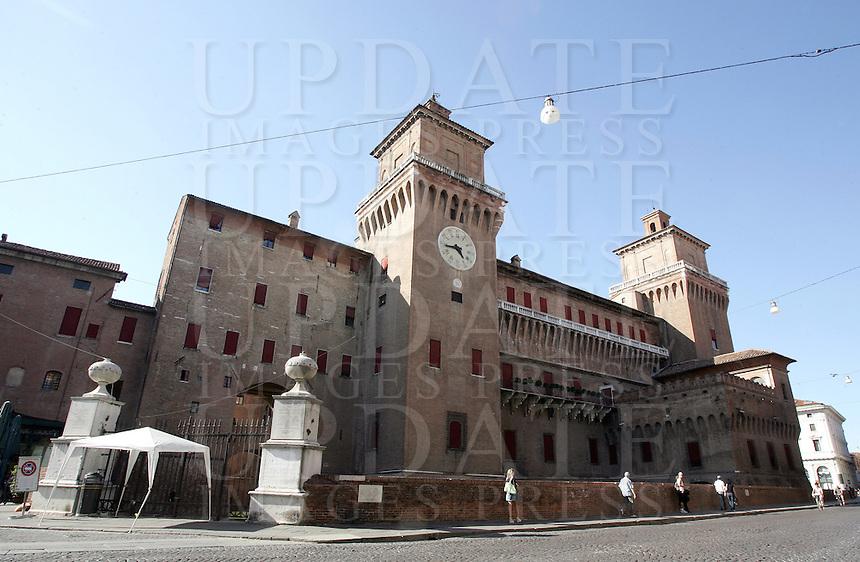 Una veduta del Castello Estense di Ferrara.<br /> An exterior view of the Castello Estense in Ferrara.<br /> UPDATE IMAGES PRESS/Riccardo De Luca