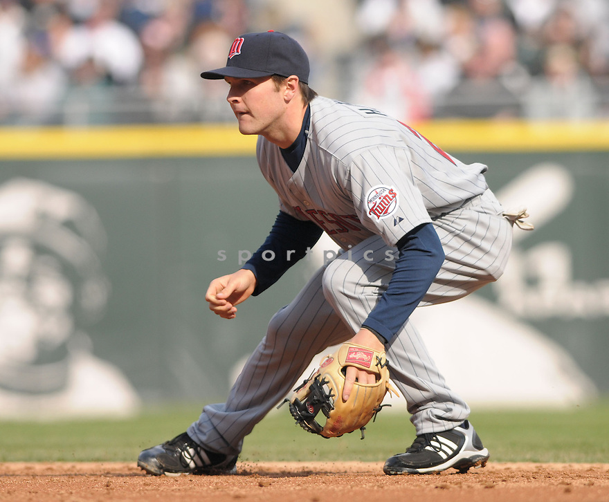 BRENDAN HARRIS, of the  Minnesota Twins in action  during the Twins game against the Chicago White Sox .  The White Sox beat the Twins 7-4 in Chicago, Illinois on April 7, 2008...David Durochik