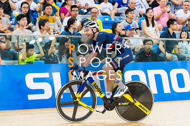 Benjamin Thomas of France celebrates winning in the Men's Omnium Finals during the 2017 UCI Track Cycling World Championships on 15 April 2017, in Hong Kong Velodrome, Hong Kong, China. Photo by Marcio Rodrigo Machado / Power Sport Images