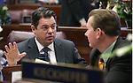 Nevada Senate Republicans Michael Roberson, left, and Ben Kieckhefer talk on the Senate floor at the Legislative Building in Carson City, Nev. on Wednesday, Feb. 6, 2013. .Photo by Cathleen Allison
