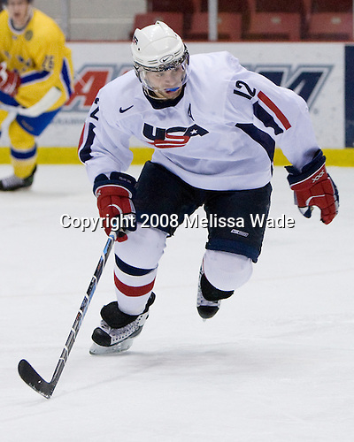 Matt Rust (US White - 12) - Team Sweden defeated Team USA White 7-3 on Friday, August 8, 2008, in the 1980 Rink during the 2008 US National Junior Evaluation Camp and Summer Hockey Challenge in Lake Placid, New York.
