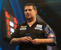 04.01.2015.  London, England.  William Hill PDC World Darts Championship.  Finals Night.  Gary Anderson (4) [SCO] walks off during the interval after Phil Taylor (2) [ENG] draws level.  Gary Anderson won the match 7-6