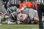 Wisconsin Badgers defensive lineman Alec James (57) recovers a fumble during an NCAA College Big Ten Conference football game against the Illinois Fighting Illini Saturday, October 28, 2017, in Champaign, Illinois. The Badgers won 24-10. (Photo by David Stluka)