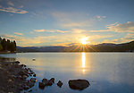 Idaho, North, Panhandle, Kootenai County, Hayden, Sunrise on Hayden Lake.
