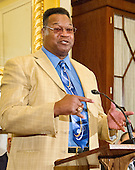 Former World Heavyweight Champion Larry Holmes makes remarks at a press conference to discuss the observational study on the brain health of active and retired professional fighters on Capitol Hill in Washington, DC on Tuesday, April 26, 2016.  The study, led by researchers from the Cleveland Clinic, is  designed to better identify, prevent and treat Chronic Traumatic Encephalopathy (CTE.)<br /> Credit: Ron Sachs / CNP