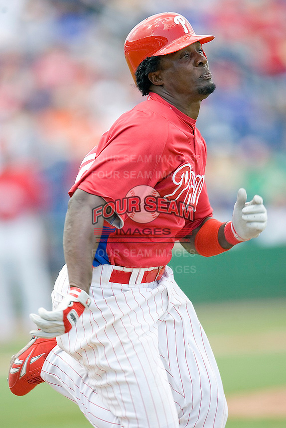 Ozuna, Pablo 8329.jpg. Minnesota Twins at Philadelphia Phillies. Spring Training Game. Saturday March 21st, 2009 in Clearwater, Florida. Photo by Andrew Woolley.