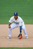 Princeton Rays first baseman Jean Ramirez (27) during the second game of a doubleheader against the Greeneville Reds on July 25, 2018 at Hunnicutt Field in Princeton, West Virginia.  Greeneville defeated Princeton 8-7.  (Mike Janes/Four Seam Images)