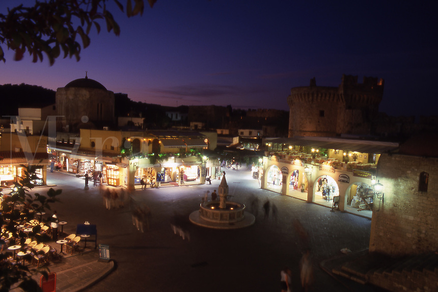 Greece. Rhodes. Ippocratous Square at Dusk. Rhodes Old Town