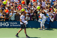 NEW YORK, USA - August 22 : Fans cheering  Roger Federer during his practice match with Dominic Thiem on August 22, 2019 in New York, USA.<br /> People attend US Open the fan week with Featured practice matches with Roger Federer and Novak Djokovic <br /> (Photo by Luis Boza/VIEWpress)
