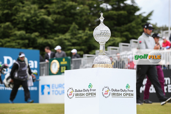 The Trophy on the first tee during Round Three of the 2015 Dubai Duty Free Irish Open Hosted by The Rory Foundation at Royal County Down Golf Club, Newcastle County Down, Northern Ireland. 30/05/2015. Picture David Lloyd | www.golffile.ie