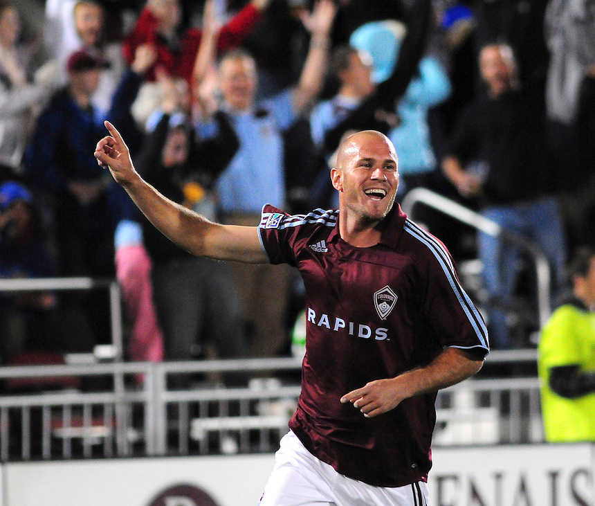 25 October 08: Rapids forward Conor Casey celebrates a goal scored against Real Salt Lake. Real Salt Lake tied the Colorado Rapids 1-1 at Dick's Sporting Goods Park in Commerce City, Colorado. The tie advanced Real Salt Lake to the playoffs.