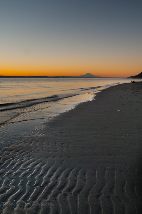 sunrise at Point no Point, Mount Rainier on the horizon