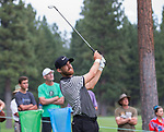 Patrick Rodgers hits a drive during the Barracuda Championship PGA golf tournament at Montrêux Golf and Country Club in Reno, Nevada on Friday, July 26, 2019.