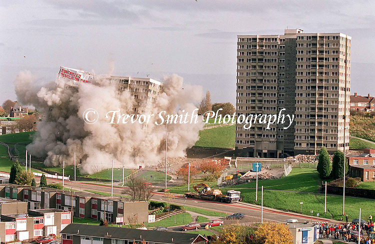 Demolition of High Rise Towers Blocks in The Norfolk Park area of Sheffield South Yorkshire