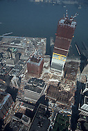 New York City, New York, OCT 1971: View of the construction underway on the towers of the future World Trade Center in downtown Manhattan which, when completed, will be the world's highest building.