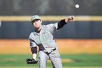 Marshall Thundering Herd relief pitcher Caleb Ross (21) delivers a pitch to the plate against the Georgetown Hoyas at Wake Forest Baseball Park on February 15, 2014 in Winston-Salem, North Carolina.  The Thundering Herd defeated the Hoyas 5-1.  (Brian Westerholt/Four Seam Images)