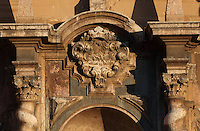 Ornamentation of the baroque main facade, cathedral of Tortosa dedicated to Santa Maria, 14th - 16 th century, Tortosa, Tarragona, Spain. This portal was designed by Marti Abaria in 1625 but construction was not carry out until the following century between the years 1728 and 1757. Picture by Manuel Cohen