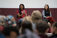 Stanford, Ca - February 2, 2019: Attendees participate in the National Women in Sports Day before the Stanford Cardinal defeats the visiting University of California Berkeley Bears 75-50 during conference play at Maples Pavilion on Saturday, February 2, 2019.
