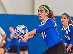 18 October 2015: Yeshiva University Maccabee Right Side and Outside Hitter Ilana Leggiere, a Sophomore from New York, NY, bumps during game action against the College of Mount Saint Vincent Dolphins at the Peter Sharp Center, in Riverdale, NY. The Dolphins defeated the Maccabees 3-0 in the NCAA Division III Women's Volleyball Skyline matchup. Mandatory Credit: Ed Wolfstein Photo *** RAW (NEF) Image File Available ***