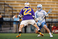 Baltimore, MD - April 5: Midfielder Matthew Bertrams # 22 of the Albany Great Dane's defends Midfielder Rob Guida #27 of the John Hopkins Blue Jays during the Albany v Johns Hopkins mens lacrosse game at  Homewood Field on April 5, 2012 in Baltimore, MD. (Ryan Lasek/Eclipse Sportwire)
