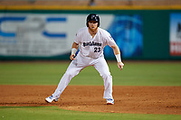 Pensacola Blue Wahoos Caleb Hamilton (24) leads off first base during a Southern League game against the Biloxi Shuckers on May 3, 2019 at Admiral Fetterman Field in Pensacola, Florida.  Pensacola defeated Biloxi 10-8.  (Mike Janes/Four Seam Images)
