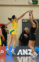 01.09.2010 Silver Ferns Irene Van Dyk and Australian Susan Fuhrmann in action during the Silver Ferns v Australia New World netball test match in Wellington. Mandatory Photo Credit ©Michael Bradley.