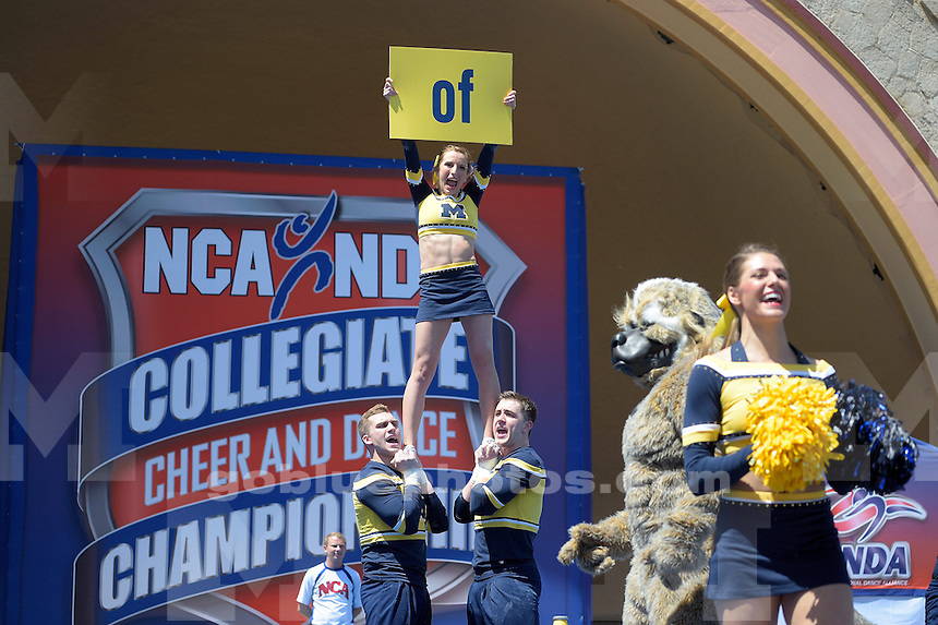 The University of Michigan Cheer team compete at the 2015 NCA National Competition in Daytona Beach, FL. April 9-10, 2015