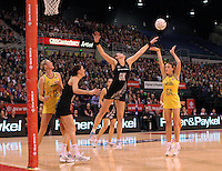 23.09.2012 Silver Ferns Leana de Bruin and Australian Natalie Medhurst in action during the third netball test match between the Silver Ferns and the Australian Diamonds at CBS Canterbury Arena in Christchurch. Mandatory Photo Credit ©Michael Bradley.
