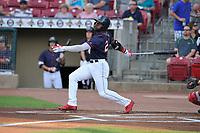 Cedar Rapids Kernels center fielder Akil Baddoo (24) swings at a pitch against the Peoria Chiefs at Veterans Memorial Stadium on June 16, 2018 in Cedar Rapids, Iowa. The Kernels won 12-4.  (Dennis Hubbard/Four Seam Images)