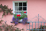 County Clare, Ireland: Bunratty Folk Park, colorful farmhouse wall with window box planter