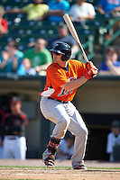 Norfolk Tides first baseman Chris Parmelee (41) at bat during a game against the Rochester Red Wings on May 3, 2015 at Frontier Field in Rochester, New York.  Rochester defeated Norfolk 7-3.  (Mike Janes/Four Seam Images)