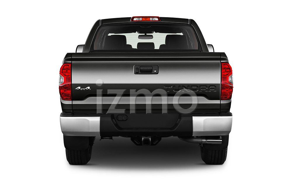 Straight rear view of 2016 Toyota Tundra SR-Crew 4 Door Pickup Rear View  stock images