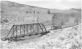 #318 pulling freigh about to cross Uncompahgre River just north of Ridgway.<br /> D&amp;RGW  Ouray Branch, CO  Taken by Richardson, Robert W. - 8/20/1951