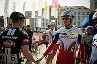 Alexander Kristoff (NOR/Katusha) congratulated by fellow riders for his Ronde van Vlaanderen win just a few days earlier<br /> <br /> 103rd Scheldeprijs 2015