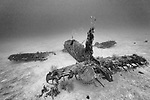 Munda, Western Province, Solomon Islands; a view from behind the tail of an F4U Corsair fighter plane, which crashed into the sea during WWII, resting upright on the sandy sea floor, nearly fully intact except for it's propeller